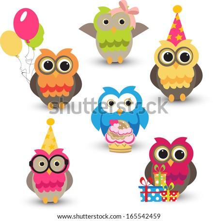 set of cute owls - stock vector