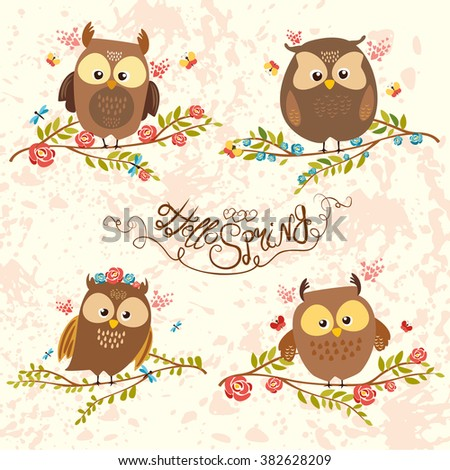 set of cute owls on branch in flowers. bright illustration. owl lovers. hello spring. vector illustration. awesome lettering. forest owls - stock vector