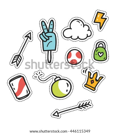 set of cute patch isolated on white background - stock vector
