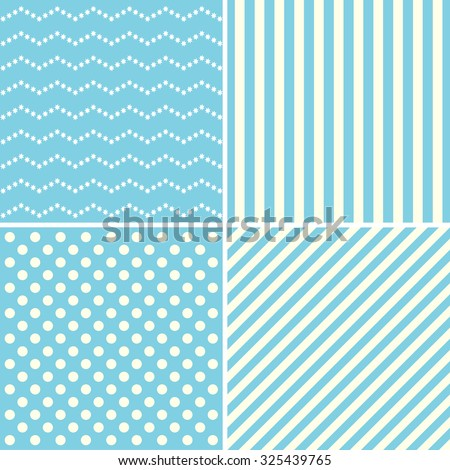 Set of cute patterns in white and blue colors. - stock vector