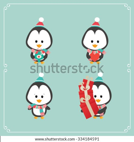 Set of cute penguins on blue background. Vector illustration - stock vector