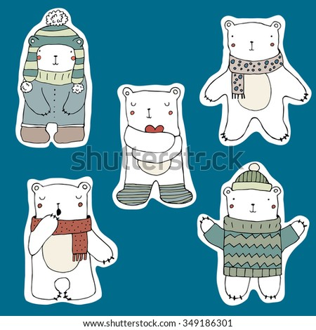 Set of cute polar bears stickers on blue background. Hand drawn illustration. Vector. Isolated. Childish decor. Bears in Clothing - hat, sweater, scarf. Cute Teddy Bear Collection. - stock vector