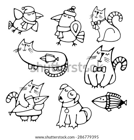 Set of cute pretty hand-drawn pets volume simple contour dreaming cats with fish, dog and crows Easy circuit for embroidery, painting, creating application or element of design Vector art illustration - stock vector