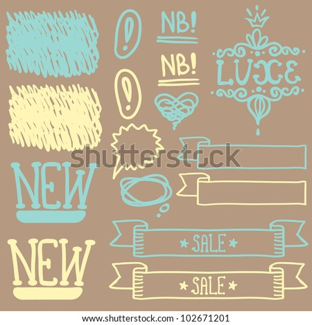 Set of cute retro hand draw elements for design - stock vector