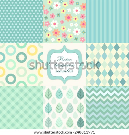 Set of cute retro primitive seamless patterns in turquoise colors - stock vector