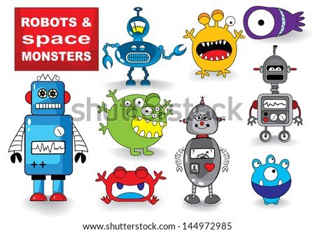 Set of Cute Robots and Monsters, vector illustration - stock vector