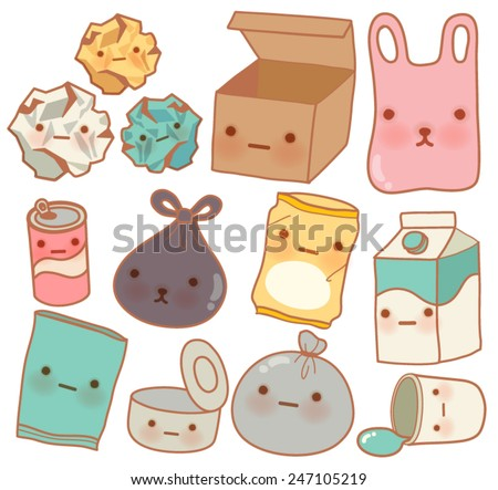 Set of Cute Rubbish - Vector file EPS10 - stock vector