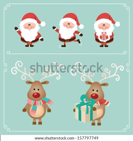 Set of cute santa claus and Christmas deer. Vector illustration