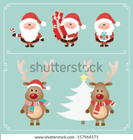 Set of cute santa claus and Christmas deer. Vector illustration - stock vector