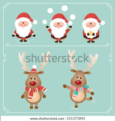 Set of cute santa claus and rudolph reindeer. Vector illustration - stock vector