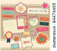 set of cute scrapbook elements. vector illustration - stock vector