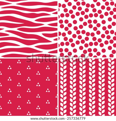 Set of cute seamless background patterns in red and white for gift wrapping paper, textiles, scrapbooking. Includes polka dots, zebra stripe, geometric triangles and leaves.   - stock vector