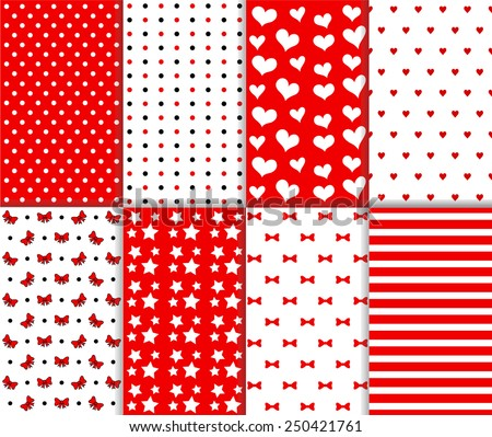 Set of cute seamless big and small polka dot, lined textile and stars, hearts, bow, ribbon and stripes pattern in red, black and white color. Vector art image illustration background, simple design - stock vector