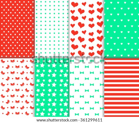 Set of cute seamless big and small polka dot, lined textile and stars, hearts, bow, ribbon and stripes pattern in red, green and white color. vector art image illustration background, simple design - stock vector