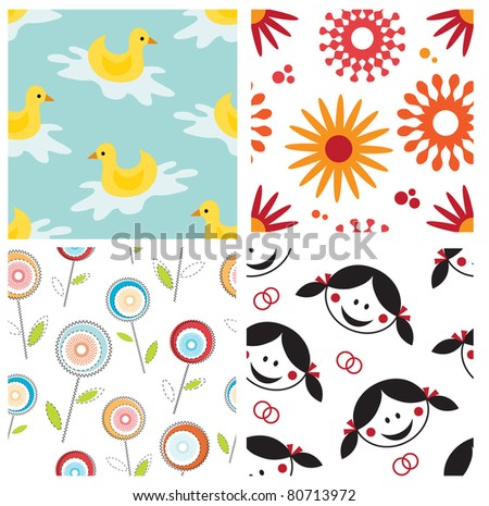 Set of cute seamless patterns - stock vector