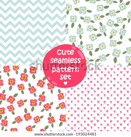 Set of cute seamless patterns Floral, chevron (zig-zag), dots hearts.  - stock vector