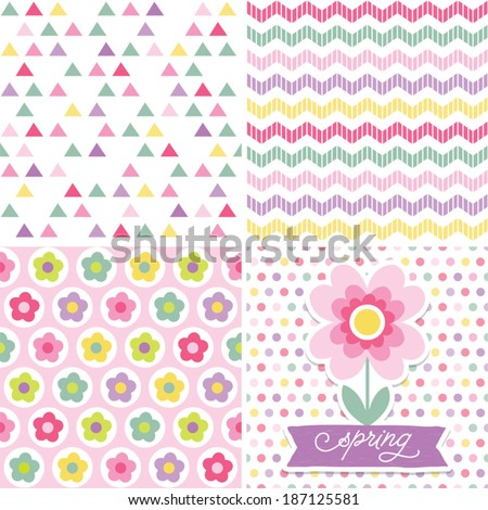 Seamless spring easter background pattern cute stock vector easter gift wrapping paper set of cute seamless retro background patterns plus floral greeting card template in spring colors for negle Image collections