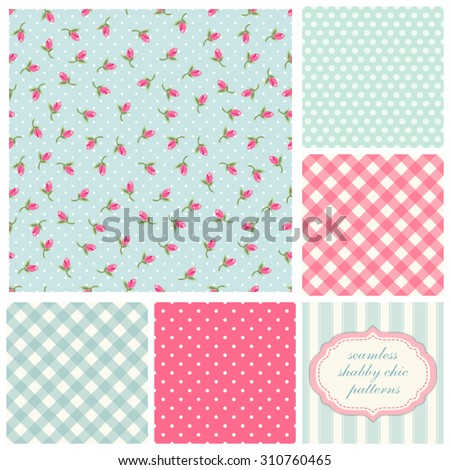 Set of cute seamless Shabby Chic patterns with roses, polka dot and plaid, ideal for kitchen textile or bed linen fabric or interior wallpaper design, can be used for scrap booking paper etc - stock vector