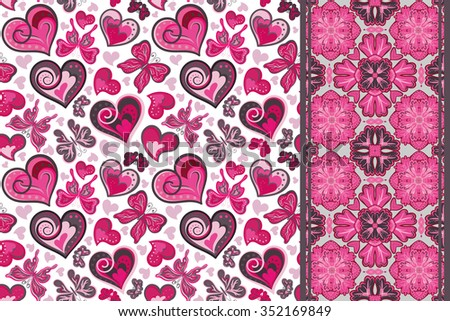 set of cute seamless vector backgrounds with hearts and butterfly and decorative border (tape ribbon lane band).  - stock vector