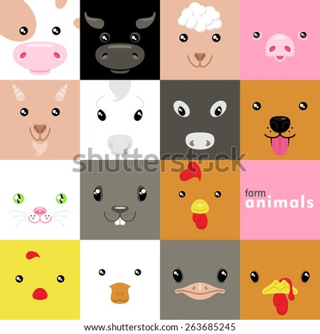 set of cute simple domestic animal faces - stock vector
