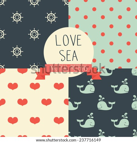 set of cute simple nautical pattern, marine seamless backgrounds, vector illustration - stock vector