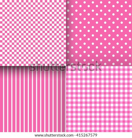 Set of cute simple pink and white patterns. Can be used for wallpaper, pattern fills, webpage backgrounds, wrapping paper or fabric. Vector illustration. EPS 10