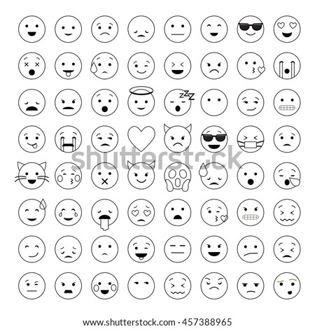 Set of cute smiley emoticons, emoj outline design isolated on white background, vector illustration