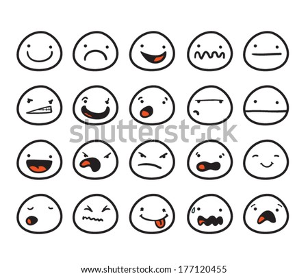 Set of cute smiley faces with different expressions - stock vector