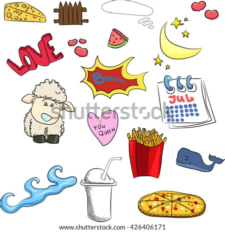set of cute stickers sheep, heart, boom, fries, Chinese, coffee, month, watermelon, calendar - stock vector