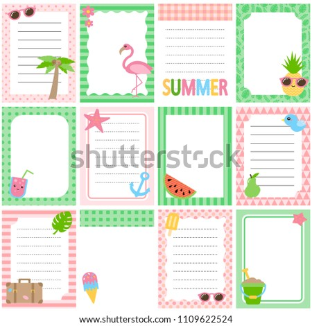 set cute summer style daily planner stock vector 1109622524