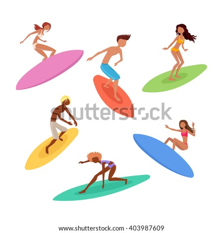 Set of cute surfers with surfboards. Surfing characters. Vector illustration. - stock vector