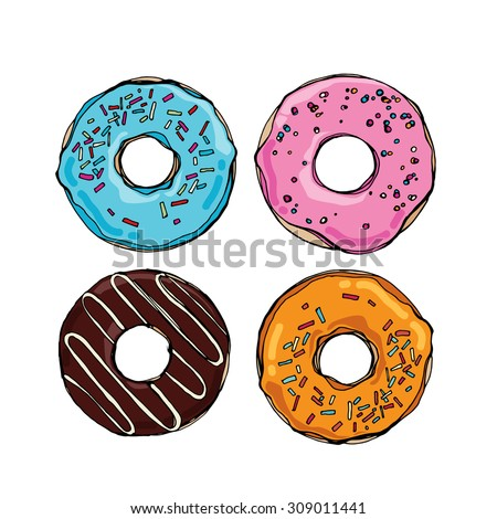 Set of cute sweet colorful donuts - stock vector