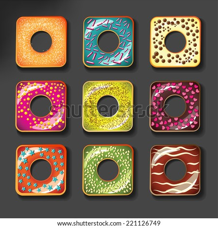 Set of cute sweet colorful donuts icon or logo set square shape - stock vector