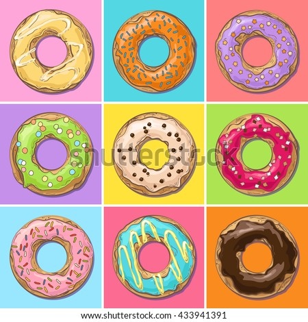 Set of cute sweet colorful donuts on bright background in pop art style; vector illustration with sketch effect; poster or postcard design, template for dessert menu in cafe - stock vector