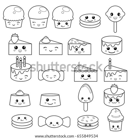 Set Cute Sweets Candy Adorable Characters Stock Vector 655849534 ...