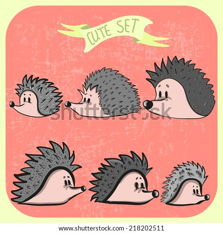 Set of cute unusual cartoon hedgehogs. Vector illustration. - stock vector