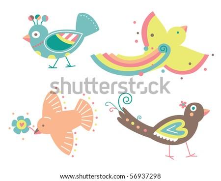 Set of cute vector birds in a decorative contemporary style. - stock vector