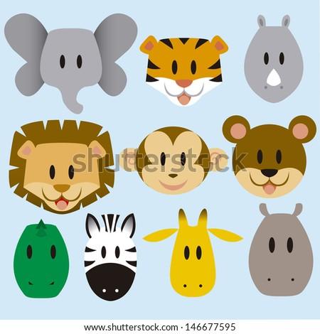 set of cute vector cartoon wild animals - stock vector