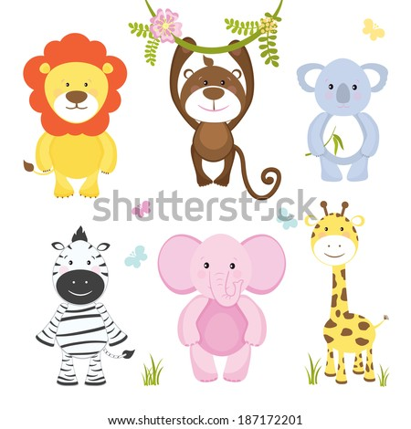 Set of cute vector cartoon wild animals with a monkey hanging from a branch  lion  pink elephant  koala bear  zebra and giraffe suitable for kids illustrations isolated on white - stock vector