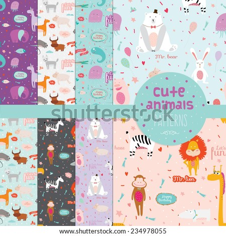 Set of 8 cute vector childish pattern with cartoon animals, speech bubbles and fireworks on colorful background. Lion, monkey, zebra, dog, giraffe. - stock vector