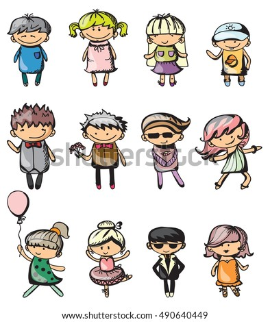 Set of cute vector children. Happy kids for greeting cards and education banners