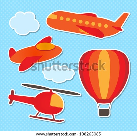 Set of cute vector colorful aircraft stickers - stock vector