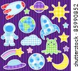 Set of cute vector colorful outer space stickers - stock vector
