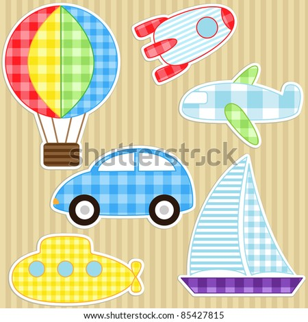 Set of cute vector colorful transport stickers - stock vector