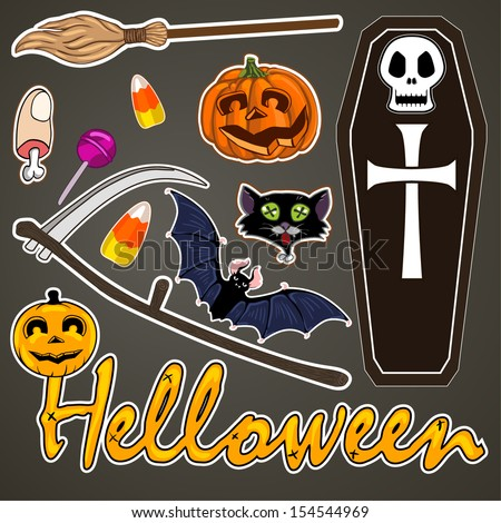 Set of cute vector Halloween elements, objects and icons for your