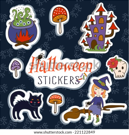 Set of cute vector Halloween stickers. vector illustration - stock vector