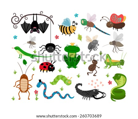 Set of cute vector insects and reptiles. Bee and grasshopper, lizard and snake, frog and cockroach - stock vector