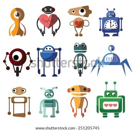 Set of 12 cute vector robots - stock vector