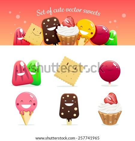Set of cute vector sweets - stock vector