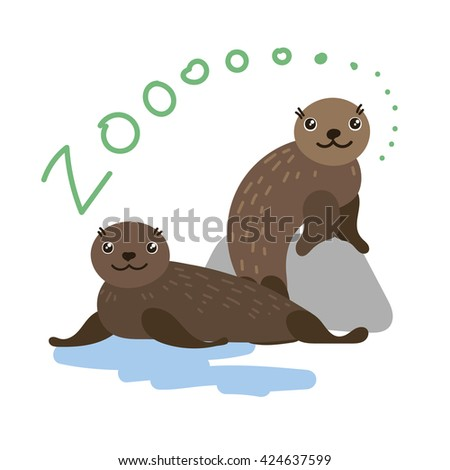 Set of Cute Vector Zoo Animal. Kawaii eyes and style. Doodle illustration. Fur seal